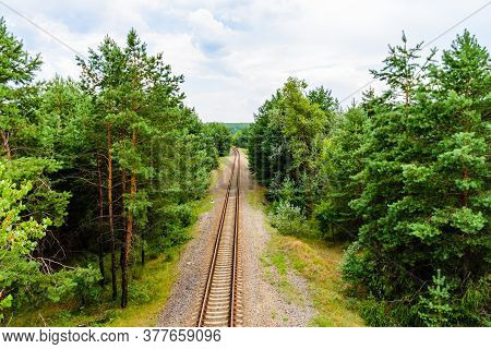 Old Railroad In The Forest On Summer