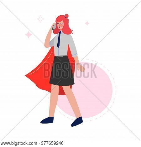 Super Businesswoman Wearing Red Cape Talking On The Phone, Successful Superhero Business Character,