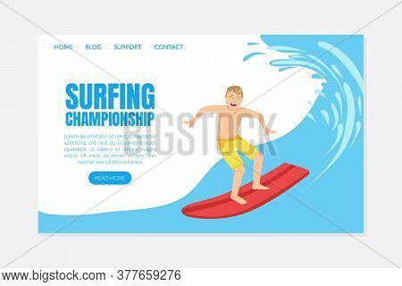 Surfing Championship Landing Page Template In Vector