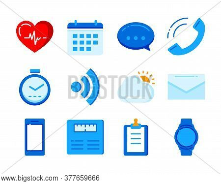 Fitness Icons Tracker Technology Data With Applications Smartwatch In Flat Color Style.