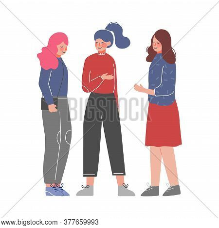 Three Young Women Talking And Discussing, Meeting Of Friends Or Colleagues, Girls Sharing Gossips Ve