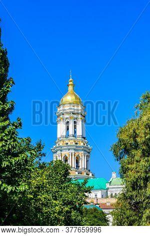 Bell Tower Of Kiev Pechersk Lavra Against Blue Sky