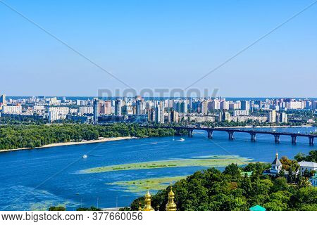View On River Dnieper And Residential Districts In Kiev, Ukraine