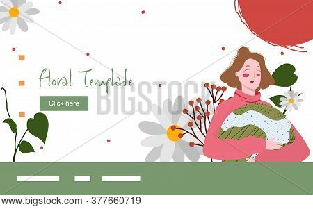Floral Beautiful Woman Hug Pillow Globe Character Plant Flower Around Campaign For Web Website Home
