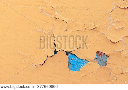 Texture concrete industrial background - peeling paint on the old rough concrete surface, peeling paint texture