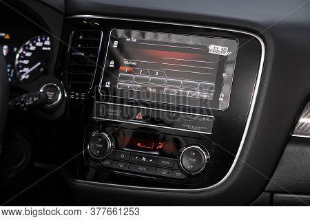 Novosibirsk/ Russia - May 25 2020: Mitsubishi Outlander, Close-up Of The Dashboard, Player, Steering