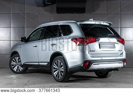 Novosibirsk/ Russia - May 25 2020: Silver Mitsubishi Outlander, Back View. Photography Of A Modern C