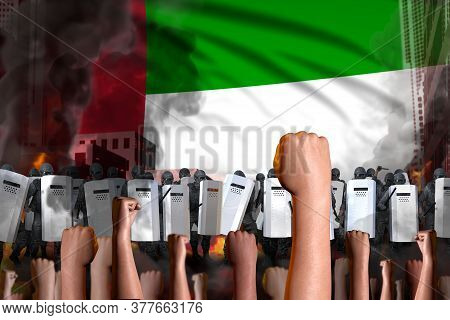 Protest In United Arab Emirates - Police Squad Stand Against The Protesting Crowd On Flag Background