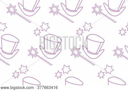 Seamless Pattern With Icon, Symbol Of A Magician, Wizard Or Conjurer. Top Hat, Shiny Magic Wand. Vec
