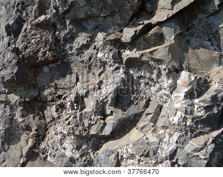 Metamorphic Rock With Quartz Veins