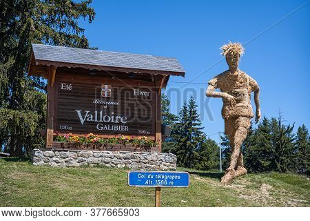 Col Du Telegraphe, France - July 8, 2020: The Ski Resort Valloire-galibier Is Located In The Commune