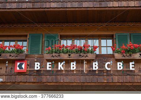 Gstaad, Switzerland - July 16, 2020: Bekb - Berner Kantonal Bank In Gstaad