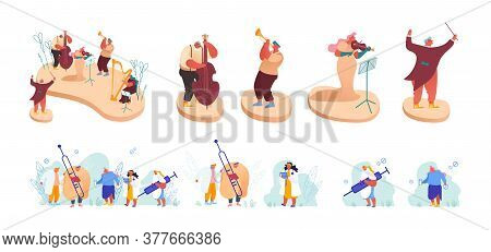 Set Of Characters Orchestra Musicians Playing Concert In Music Hall. Sick Patients With Flu Visit Do