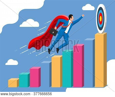 Super Businessman With Briefcase Goes To Target Goal. Business Man Look Up To The Target On Chart La