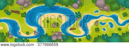 River Top View, Cartoon Curve Riverbed With Blue Water, Coastline With Rocks, Trees And Green Grass.