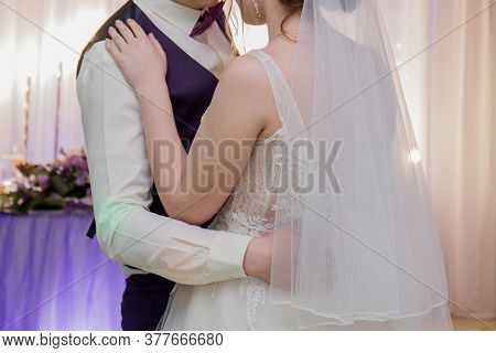 Groom And Bride At Wedding Banquet In Restaurant