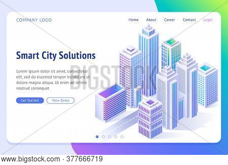 Smart City Solutions Banner. Isometric Futuristic Town With Skyscrapers, Buildings And Road. Vector