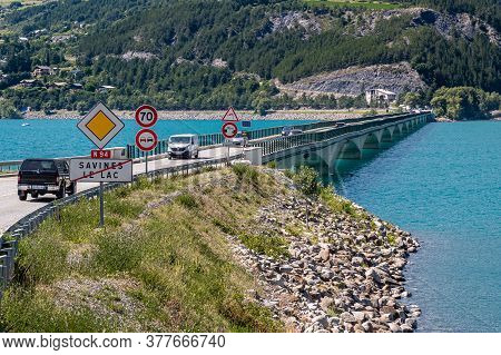 Savines Le Lac, France - July 7, 2020: Savines-le-lac Is A Village In The Hautes-alpes Department In