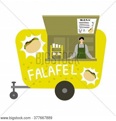 Street Food Truck With Israeli Falafel And Menu With Positions And Prices