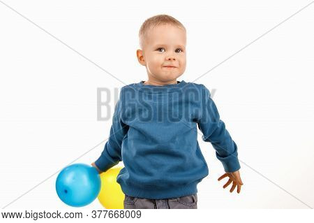 Little Boy Child Holding Balloons, Happy Childhood. Soft Focus