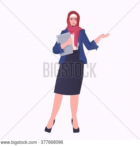 Arabic Businesswoman In Traditional Clothes Holding Folder Arab Female Cartoon Character Standing Po
