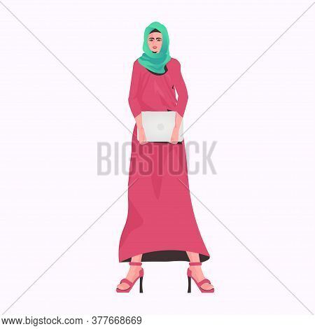 Arabic Businesswoman In Traditional Clothes Holding Laptop Arab Female Cartoon Character Standing Po