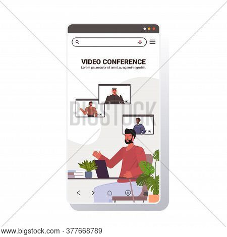 Businessman Chatting With Mix Race Colleagues During Video Call Busines People Having Online Confere
