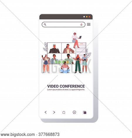 Mix Race People Chatting During Video Call Friends Having Online Conference Meeting Communication Co