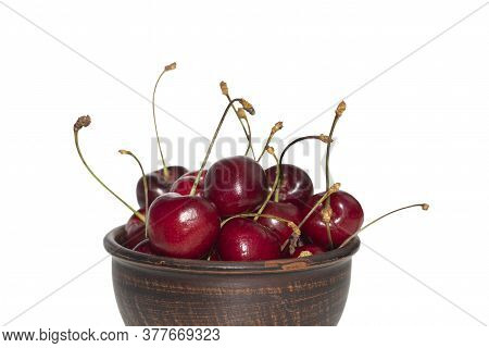 Cherries With Stalks. Cherry In Bowl On White Background