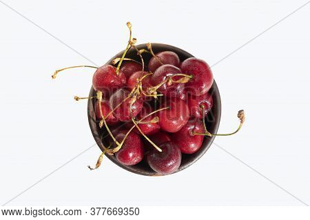 Cherries With Stalks. Cherry In Bowl Isolated On White Background.
