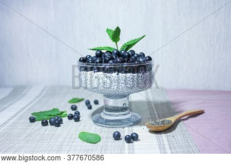 Pudding With Chia Seeds And Juicy Blueberries, Garnished With A Sprig Of Fresh Mint.