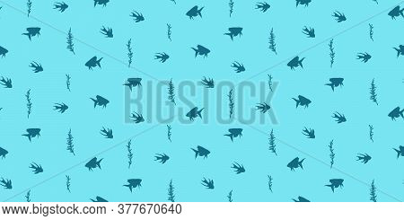 Fish And Algae Seamless Pattern. Vector Cartoon Undersea Kids Illustration, Endless Background With