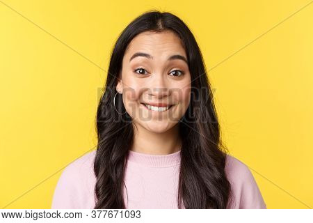 People Emotions, Lifestyle Leisure And Beauty Concept. Upbeat Happy Asian Girl Anticipating Big Even