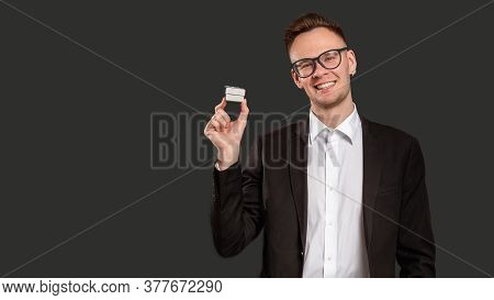 Special Gift. Promotional Background. Cheerful Business Man Showing Jewelry Box Smiling Isolated On