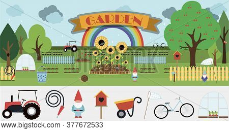 A Large Set Of Vector Items For The Garden. Flat Garden Illustration Design With Flowerbeds, Tractor