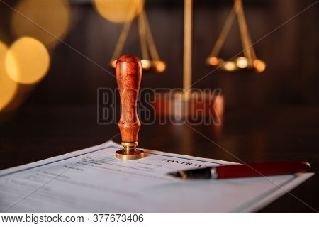 Notarys Public Pen And Stamp On A Contract In Office. Notary Public Tools