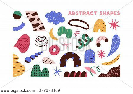 Collection of colorful doodle objects vector flat illustration. Set of different abstract shapes - circle and curved line, spots, stars isolated on white. Trendy decorative elements
