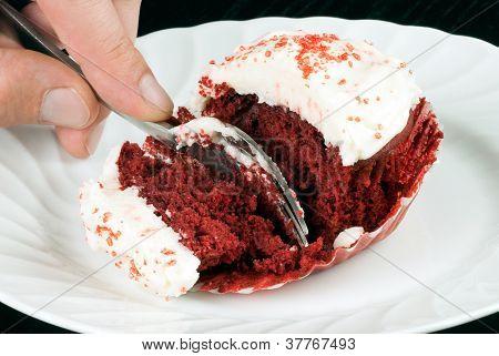 Slicing The Red Velvet Cupcake