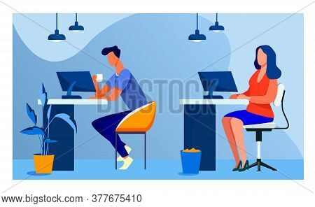 Employees Working At Computers. Office People, Workplaces, Co-working Flat Vector Illustration. Corp