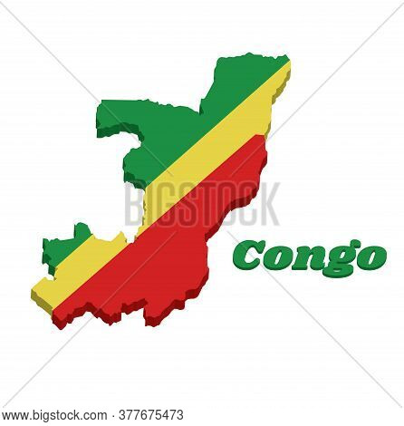 3d Map Outline And Flag Of Congo, A Diagonal Tricolor Of Green, Yellow And Red Radiating From The Lo