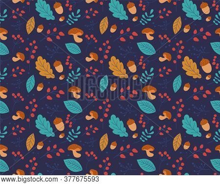 Seamless Vector Pattern Autumn Leaves. Design For Kitchen Textiles, Clothing And Wallpaper. Leaves C