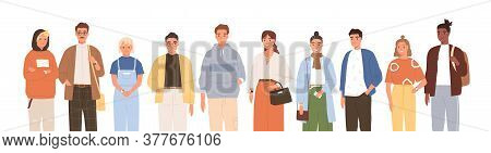Group Of Friendly Diverse People Standing Together Vector Flat Illustration. Men And Women Of Variou