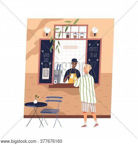Black Skin Guy Barista Work At Street Coffeeshop Vector Flat Illustration. Male Customer Buying Hot