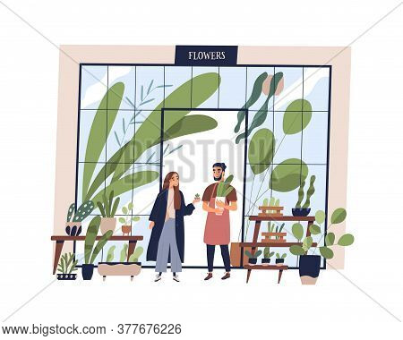 Happy Man Working At Small Shop With Potted Plants Vector Flat Illustration. Male Owner Of Growing A