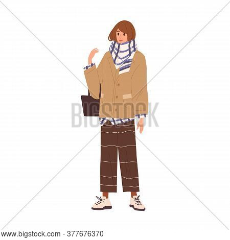 Stylish Female Wrapped In Warm Scarf Standing With Handbag Vector Flat Illustration. Trendy Girl Dem