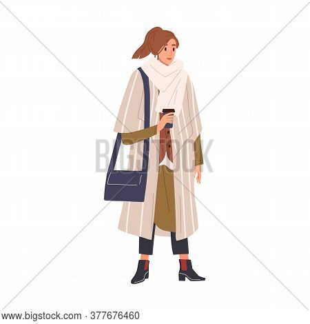 Woman In Classy Winter Outfit Holding Paper Coffee Cup Vector Flat Illustration. Fashion Female Wrap
