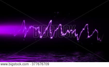 Abstract Realistic Purple Nature Lightning Thunder Background . Bright Curved Line On Isolated Textu