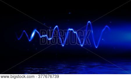 Abstract Realistic Nature Blue Lightning Thunder Background . Bright Curved Line On Isolated Texture