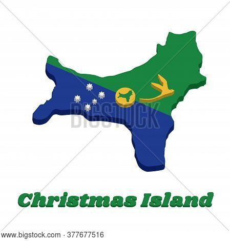 3d Map Outline And Flag Of Christmas Island, Blue And Green Diagonal Color With White Star, A Golden