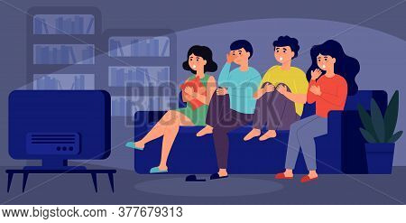 Young Friends Watching Horror Movie Together Isolated Flat Vector Illustration. Cartoon Girls And Gu